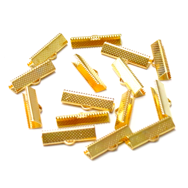 Iron Ribbon Ends, Gold Plated-25x8mm; 15pcs