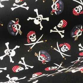 Pirate Skulls Halloween Fabric- 100% Cotton Print Fabric, 44/45
