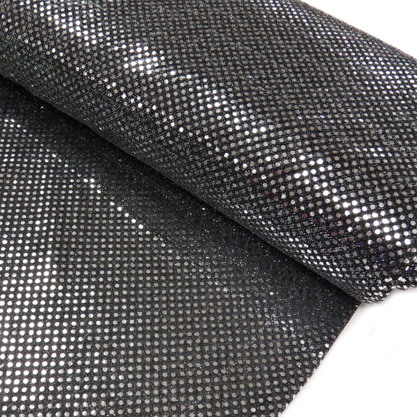 "Black and Silver, Polyester Sequin - 44"" wide; 1 Yard"