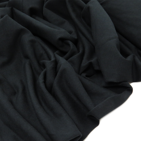 "Black - Polyester Spandex Cotton Knit, 60"" wide; 1 Yard"