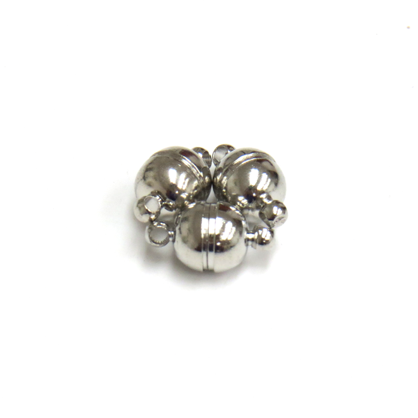 Round Magnetic Clasp, Platinum Color Brass-8mm; 3pcs