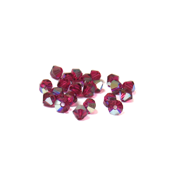 Swarovski Crystal, Bicone, 4mm - Ruby AB ; 20 pcs