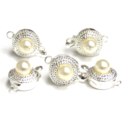 Pearl Box Clasp, Silver, 10 x 10 mm; 5 pieces