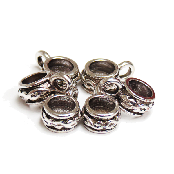 Iron Spacer Bead with Loop, Antique Silver, 12mm; 6 pieces