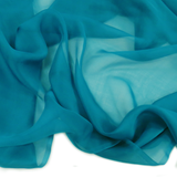 "Teal Silk Chiffon, 54"" Wide; 1 Yard"