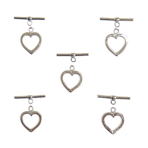 Toggle Heart, Silver, Brass, 14 x 15 mm, 5 Pieces
