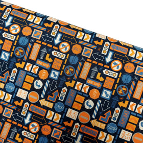 Traffic Signs - Blue & Orange 100% Cotton Print Fabric, 45