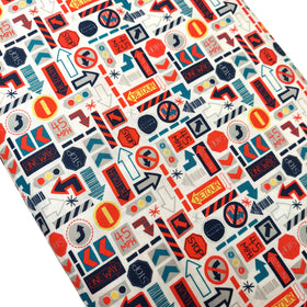 Traffic Signs - White & Red 100% Cotton Print Fabric, 45