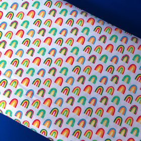 Arcoiris con fondo blanco- 100% Cotton Print Fabric, 44/45