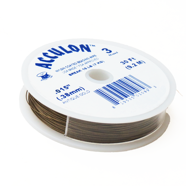 Acculon, Nylon Coated Beading Wire-Gold; .015/30ft