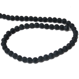 Frosted Black Agate; 6mm