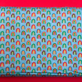 Arcoiris con fondo azul- 100% Cotton Print Fabric, 44/45
