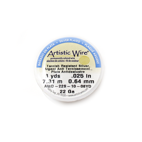 Artistic Wire, Silver Plated, 22 Gauge 0.64mm - 8 yards