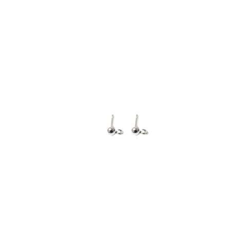 Ball Ear With Ring, Sterling Siver, 3mm; 1 pair