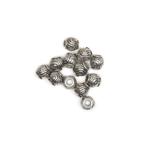 Swirls Barrel Spacer, Antique Silver, 9mm; 12 pieces