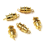 Barrel Clasp, Gold Plated Brass-12x8mm; 5pcs