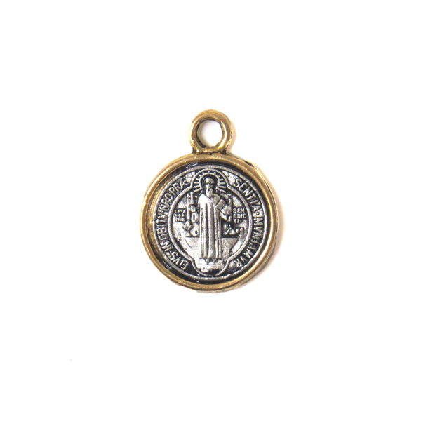 Saint Benedict Two Toned Charm , Small; 14mm