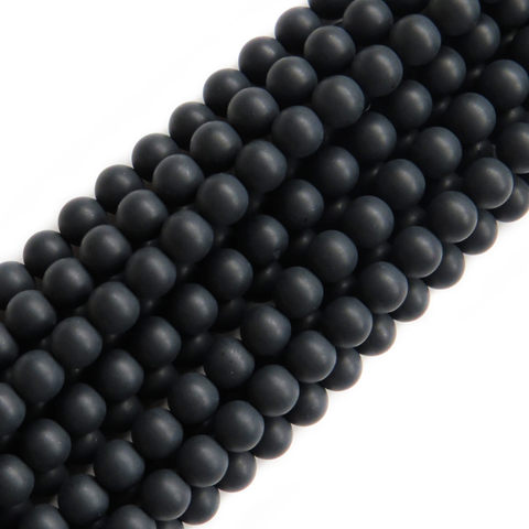 Frosted Black Onyx, Round, 8mm; 1 strand
