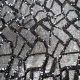 "Krystal, Sequins, Black, 54"" Wide- 1 Yard"