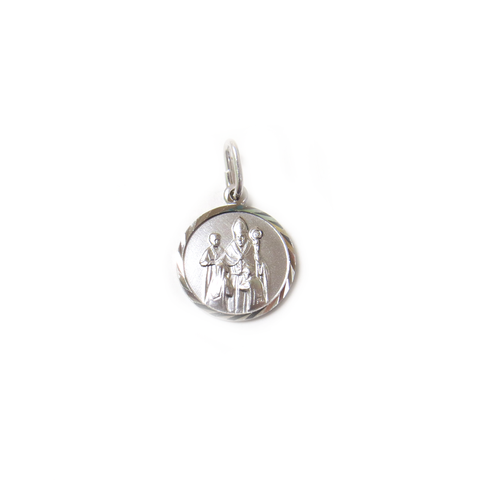 Saint Blaise Charm, Italian Sterling Silver, 14mm - 1 piece