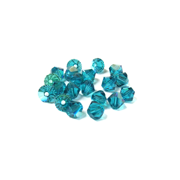 Swarovski Crystal, Bicone, 5mm - Blue Zircon AB; 20 pcs