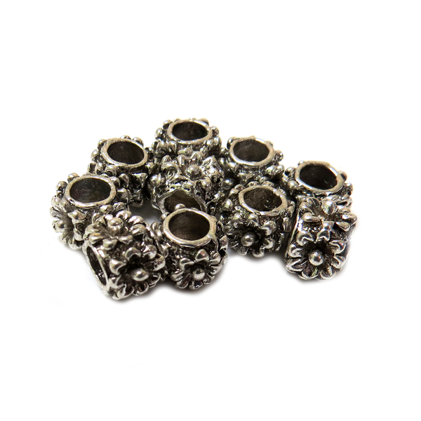 Flower Spacer, Antique Silver, 8x6mm -10 pieces