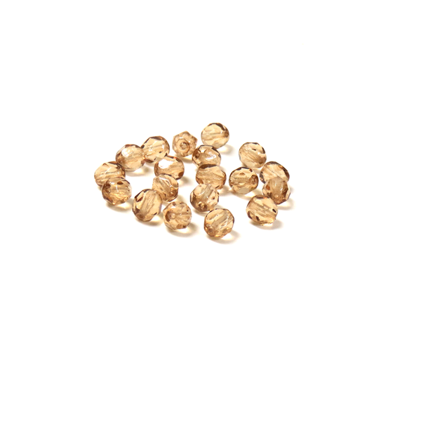 Golden Shadow, Round Faceted Fire Polished; 6mm - 20 pcs