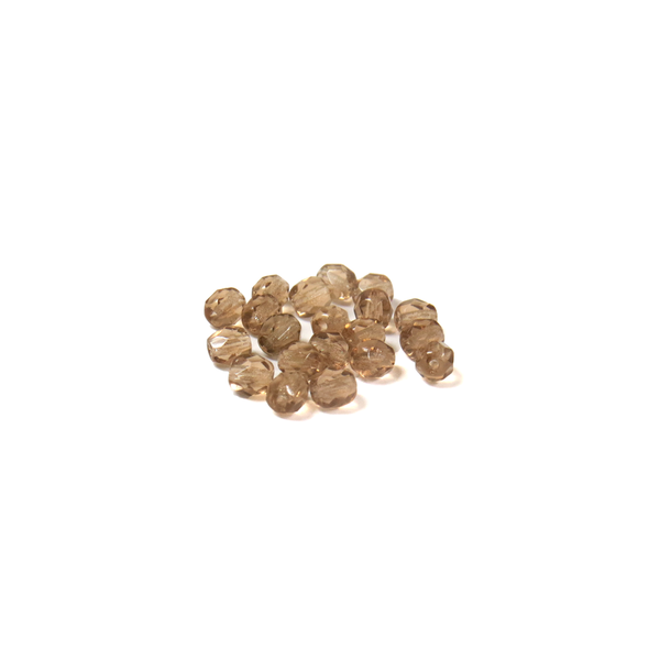 Champagne, Round Faceted Fire Polished; 4mm - 20 pcs