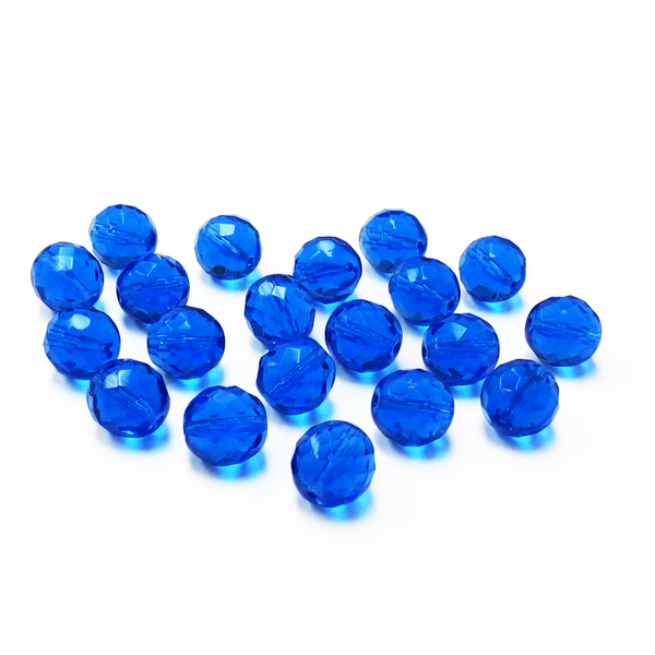 Dark Sapphire, Round Faceted Fire Polished Beads- 12mm; 20pcs