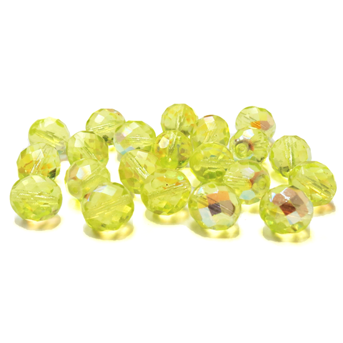 Lime AB, Round Faceted Fire Polished Beads- 12mm; 20pcs