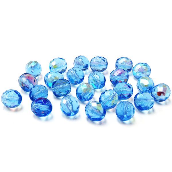 Sapphire AB, Round Faceted Fire Polished Beads-12mm; 20pcs