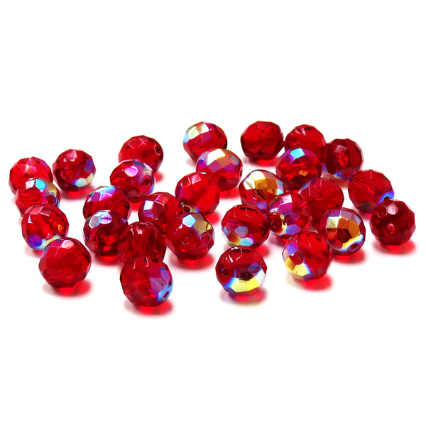 Siam AB, Round Faceted Fire Polished Beads-12mm; 20pcs.