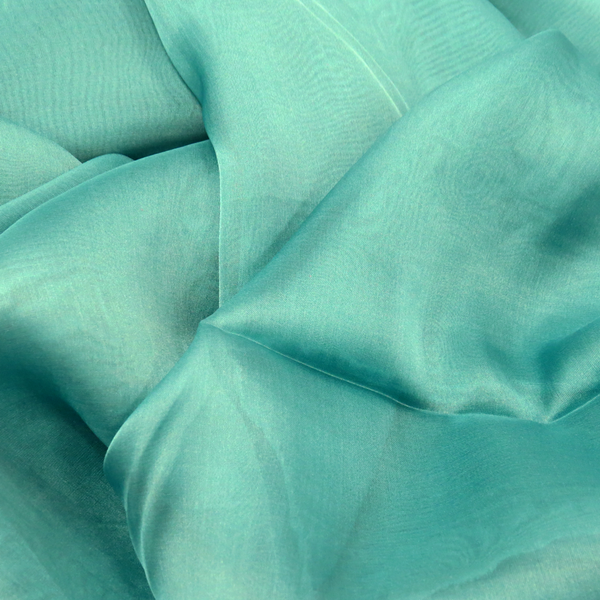 Teal Green, 100% Natural Silk Chiffon Fabric, 56/58