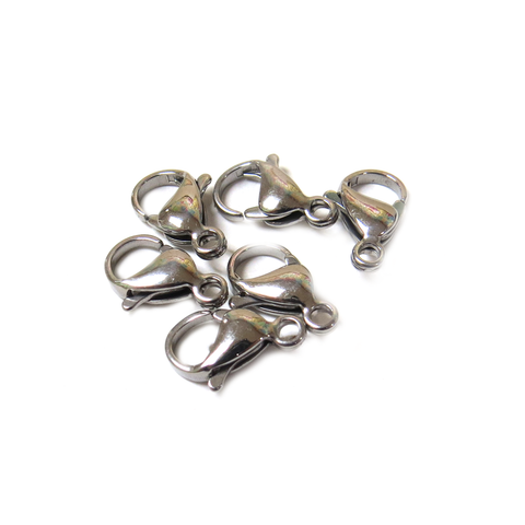 Stainless Steel Lobster Clasp, 13x8mm - 6 pieces