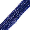 Cobalt AB, Round Faceted Glass Bead, 3mm; 1 strand