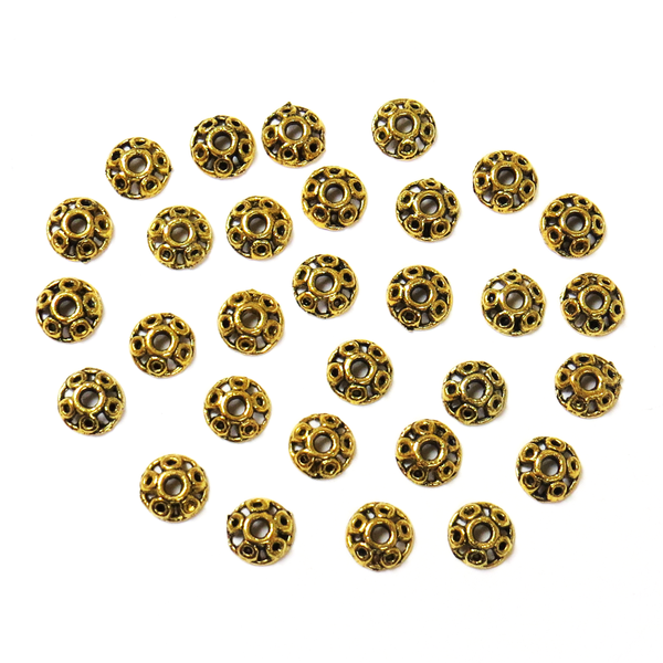 Round Bead Cap- Antique Gold; 30pcs