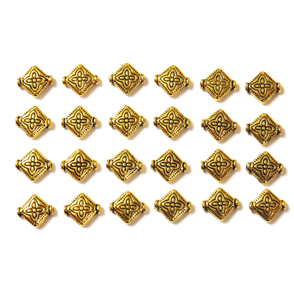 Diamond Spacer Beads- Gold; 24pcs