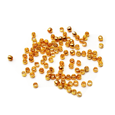 Crimp Beads, Gold Plated Brass- 2mm; 100pcs