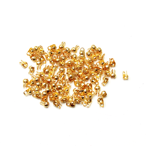 Bead Tip Clamp-on, Gold Plated Brass-4x2.5mm; 100pcs