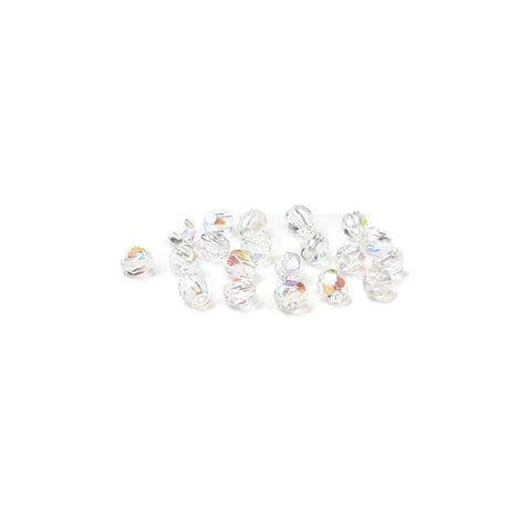 Crystal AB, Round Faceted Fire Polished; 4mm - 20 pcs