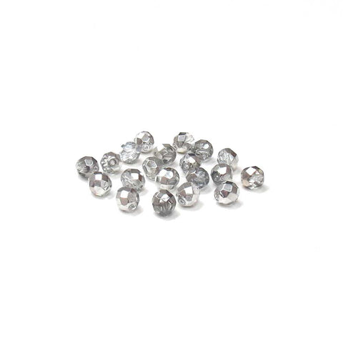 Crystal Silver, Round Faceted Fire Polished; 8mm - 20 pcs