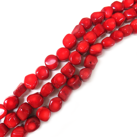Red Coral Nugguet, 14x11mm - 1 strand