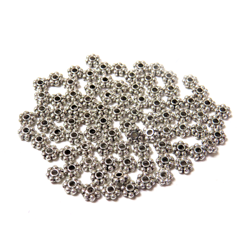 Daisy Flower Spacer, Silver, 4mm - 100 Pieces