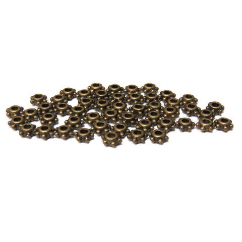 Daisy Spacer Bead, Antique Bronze, 5mm; 50 pieces