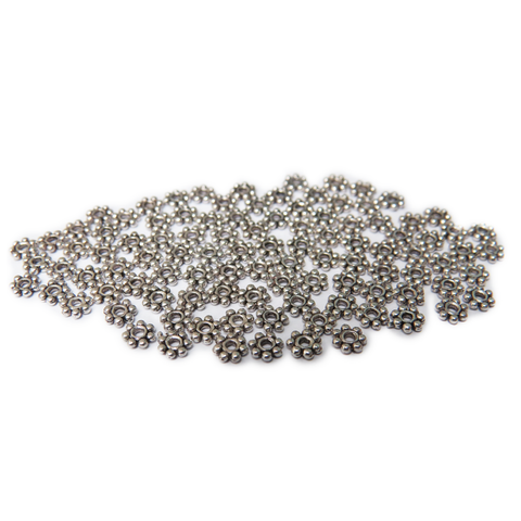 Daisy Spacer Beads, Silver, 4mm; 100 pieces