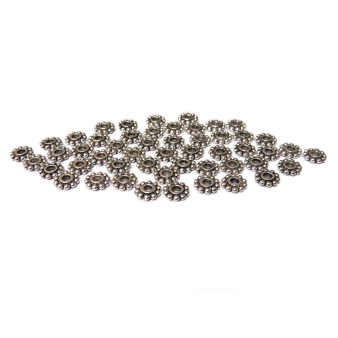 Daisy Spacer Beads, Silver; 6mm, 50 pieces