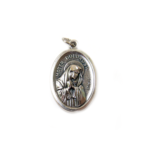 ''Mater Dolorosa'' Italian Charm, Antique Silver, 25x16mm - 1 piece