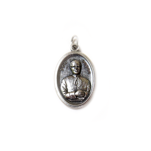 ''Don San Juan Bosco'' Italian Charm, Antique Silver, 25x16mm - 1 piece