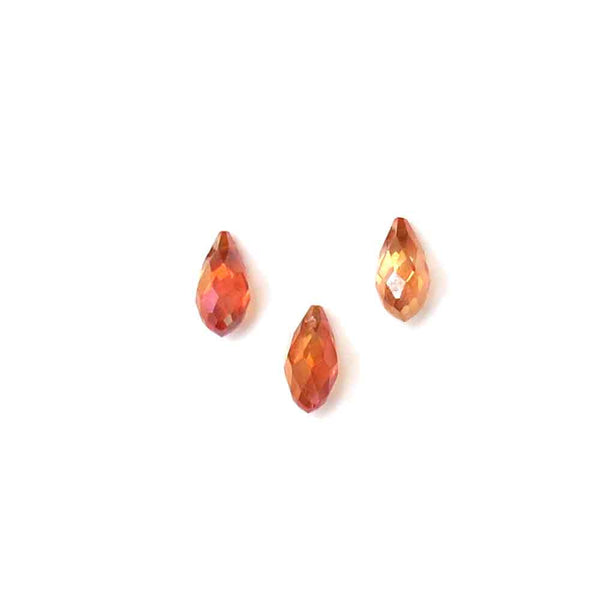 Orange AB, Faceted Crystal Drop; 13 x 5mm - 1 piece
