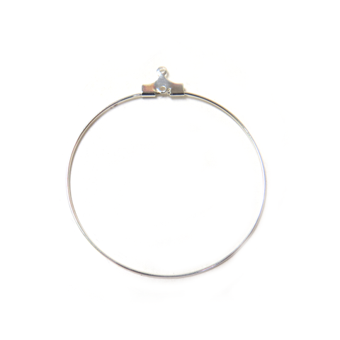 Beading hoop, Silver, 40mm Round with Loop.